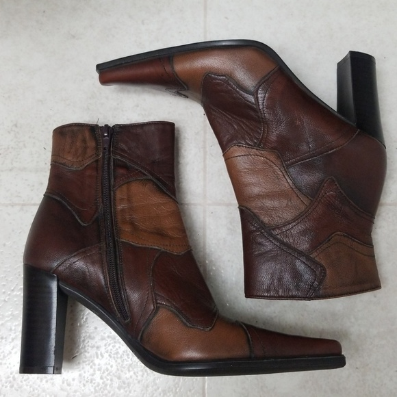 9965b0f36caf0 Italian Leather boots funky brown two tone patches